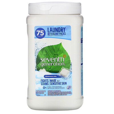 Seventh Generation Laundry Detergent Packs, Fragrance Free, 75 Packs, 3.3 lbs (1.5 kg)