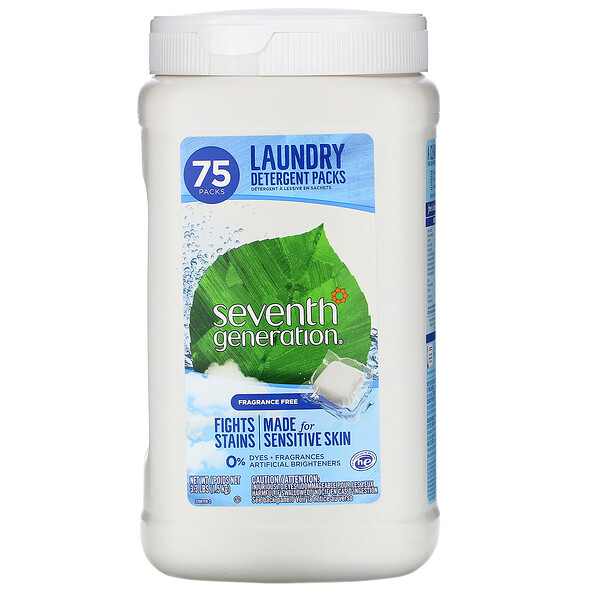 Seventh Generation, Laundry Detergent Packs, Fragrance Free, 75 Packs, 3.3 lbs (1.5 kg)