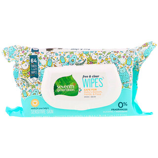 Seventh Generation, Free & Clear Baby Wipes, Unscented, 64 Wipes