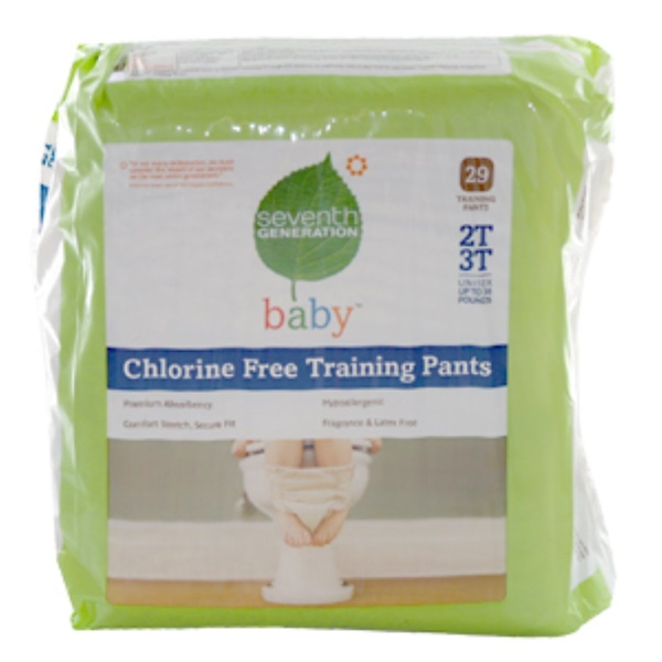 Seventh Generation, Baby, Chlorine Free Training Pants, 29 Training Pants, 2T 3T, Unisex Up to 34 Pounds (Discontinued Item)
