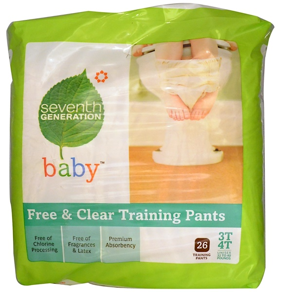 Seventh Generation, Baby, Free & Clear Training Pants, 26 Training Pants, 3T-4T, Unisex 32 to 40 Pounds (Discontinued Item)