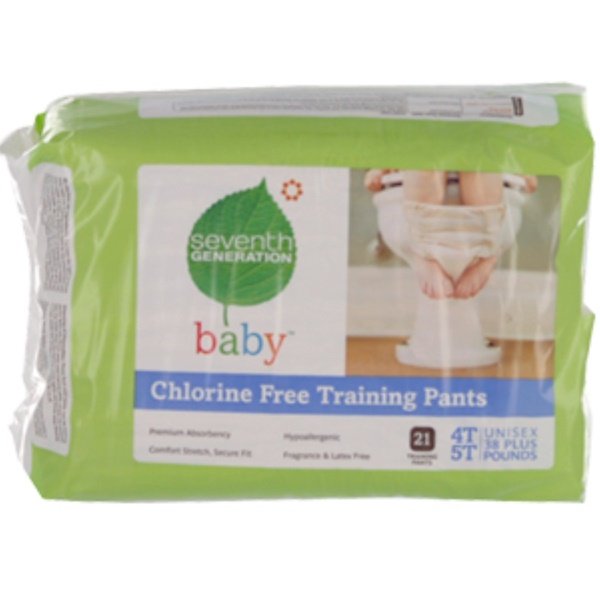Seventh Generation, Baby, Chlorine Free Training Pants, 4T-5T, Unisex, 38 Plus Pounds, 21 Training Pants (Discontinued Item)