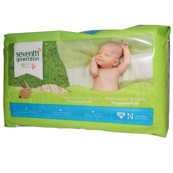 Seventh Generation, Продукция для детей, Подгузники из экологически чистых материалов, 36 подгузников, N, до 4,5 кг (10 фунтов) (Discontinued Item)