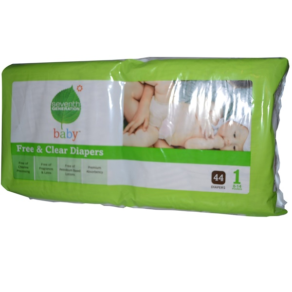 Seventh Generation, Free & Clear Diapers, Size 1, 8-14 Pounds, 44 Diapers (Discontinued Item)