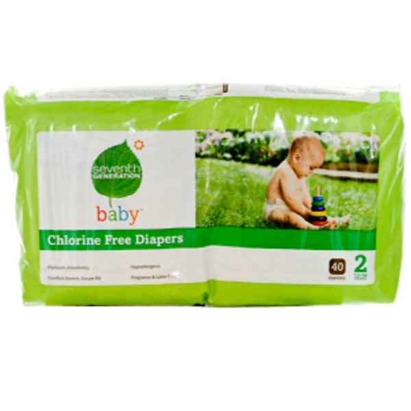 Seventh Generation, Chlorine Free Diapers, Size 2, 12-18 Pounds, 40 Diapers (Discontinued Item)