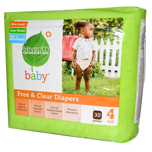 Seventh Generation, Baby, Free & Clear Diapers, Stage 4, 22-37 Pounds, 30 Diapers (Discontinued Item)