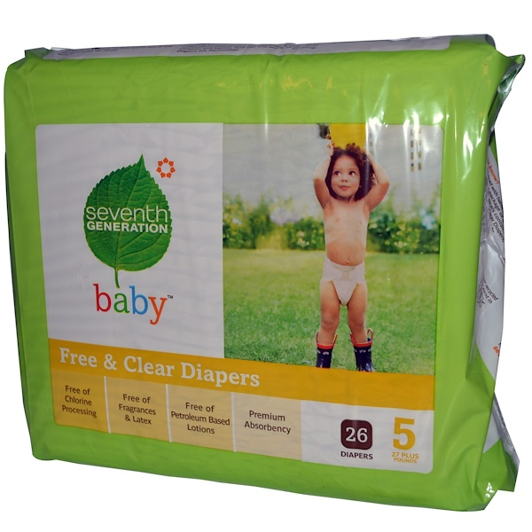 Seventh Generation, Baby, Free & Clear Diapers, Size 5, 27 Plus Pounds, 26 Diapers (Discontinued Item)