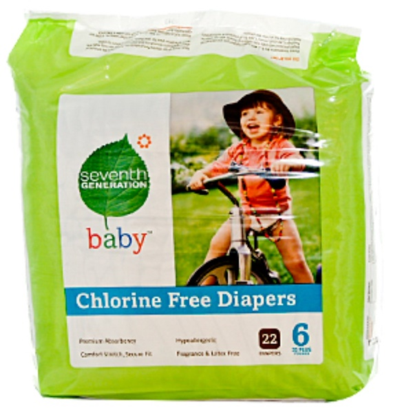 Seventh Generation, Chlorine Free Diapers, Stage 6, 35+ Pounds, 22 Diapers (Discontinued Item)