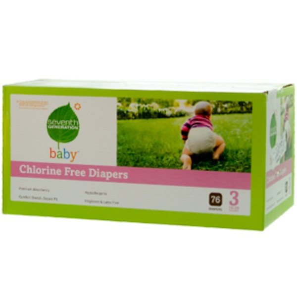 Seventh Generation, Baby, Chlorine Free Diapers, 76 Diapers, Stage 3, 16-28 Pounds (Discontinued Item)