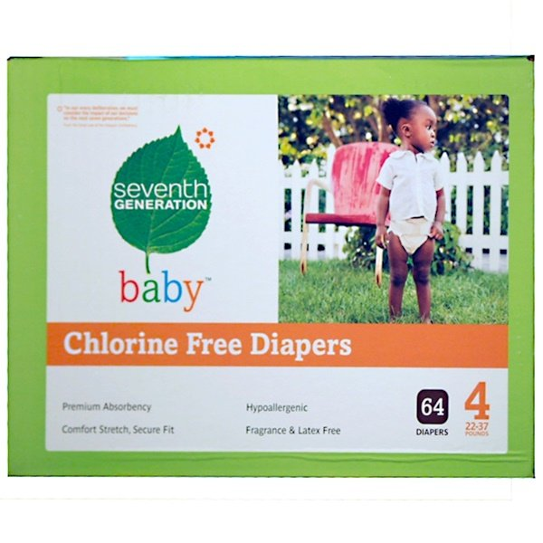 Seventh Generation, Chlorine Free Diapers, Stage 4, 22-37 lb, 64 Diapers (Discontinued Item)