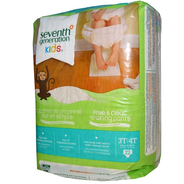Seventh Generation, Kids, Free & Clear Training Pants,  3T-4T, Unisex 32-40 lbs, 22 Training Pants (Discontinued Item)