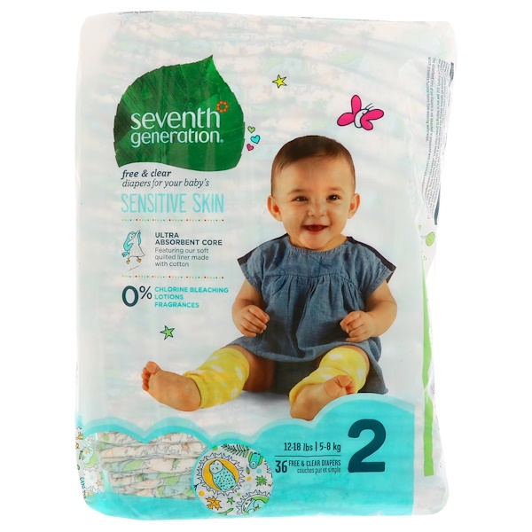 Baby, Free & Clear Diapers, Size 2, 12-18 Pounds (5-8 kg), 36 Diapers