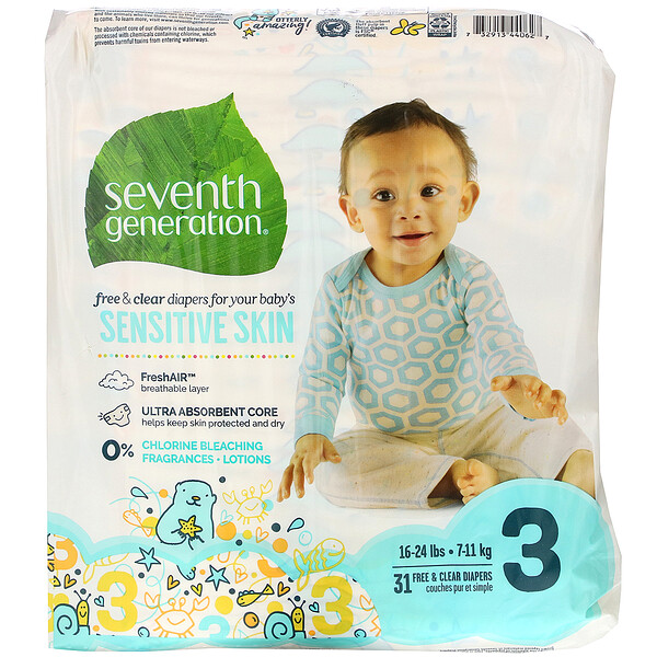 Seventh Generation, Free & Clear Diapers, Size 3, 31 Diapers