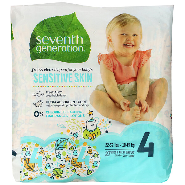 Seventh Generation, Free & Clear Diapers, Size 4, 27 Diapers