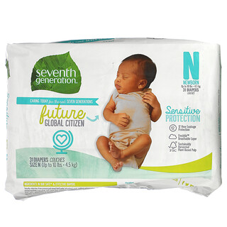 Seventh Generation, Sensitive Protection Diapers, Size N, Up to 10 lbs, 31 Diapers