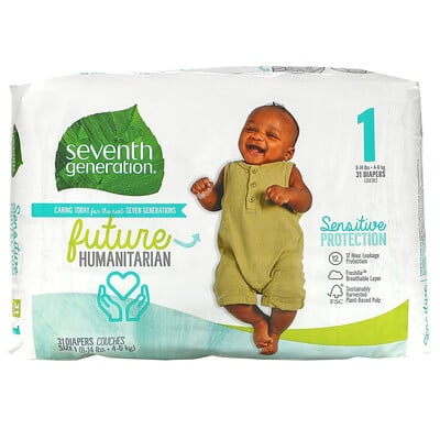 Купить Seventh Generation Sensitive Protection Diapers, Size 1, 8- 14 lbs, 31 Diapers