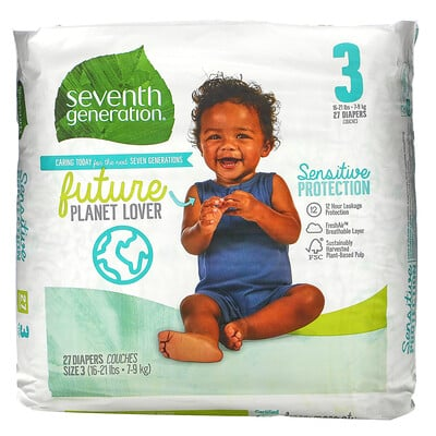 Купить Seventh Generation Sensitive Protection Diapers, Size 3, 16- 21 lbs, 27 Diapers