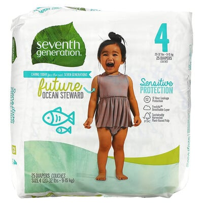 Купить Seventh Generation Sensitive Protection Diapers, Size 4, 20- 32 lbs, 25 Diapers