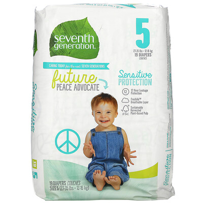 Купить Seventh Generation Sensitive Protection Diapers, Size 5, 27- 35 lbs, 19 Diapers