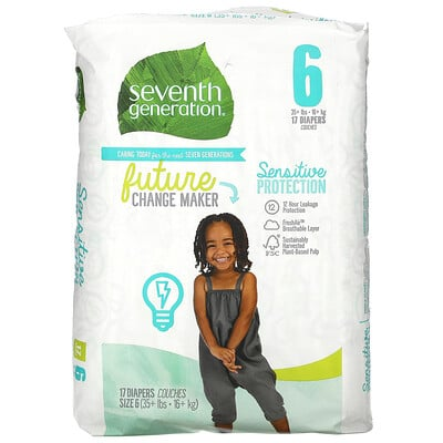 Купить Seventh Generation Sensitive Protection Diapers, Size 6, 35+ lbs, 17 Diapers