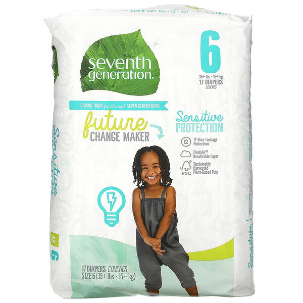 Sensitive Protection Diapers, Size 6, 35+ lbs, 17 Diapers