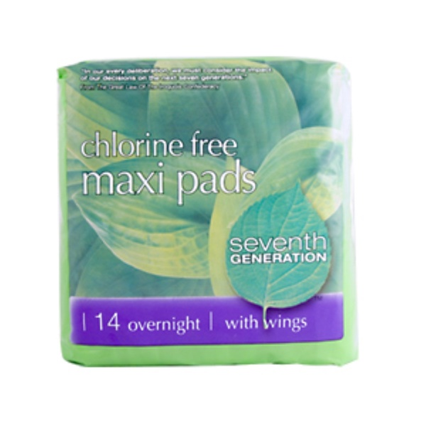 Seventh Generation, Maxi Pads, Chlorine Free,  Overnight with Wings, 14 Pads (Discontinued Item)