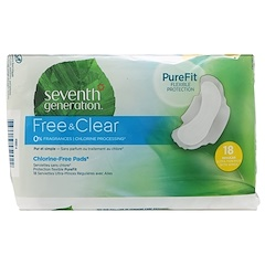 Seventh Generation, Free & Clear, Ultra-Thin Pads with Wings, Regular, 18 Pads