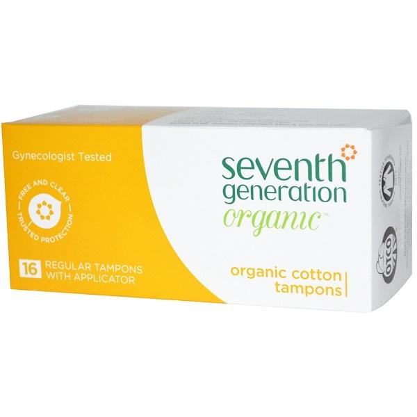 Seventh Generation, Organic Cotton Tampons, Regular, 16 Tampons w/ Applicator (Discontinued Item)