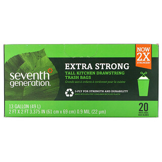 Seventh Generation, Tall Kitchen Drawstring Trash Bags,  Extra Strong, White, 20 Bags, 13 Gal (49 L) Each