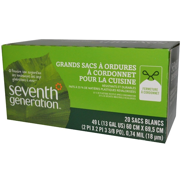 Seventh Generation, Tall Kitchen Drawstring Bags, White, 20 Bags, 13 Gal (49 L) Each (Discontinued Item)