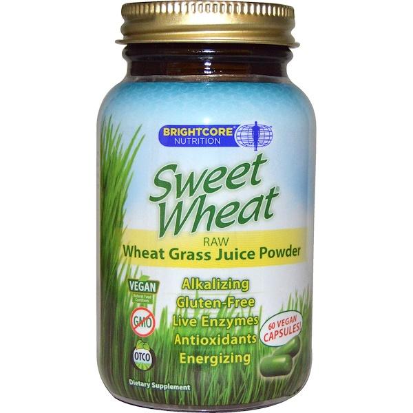 Sweet Wheat, Sweet Wheat, сырой порошкообразный концентрат сока ростков пшеницы, 60 веганских капсул (Discontinued Item)