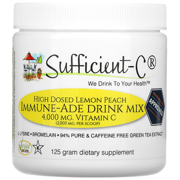 Sufficient C, High Dosed Immune-Ade Drink Mix, Lemon Peach, 4,000 mg, 125 g
