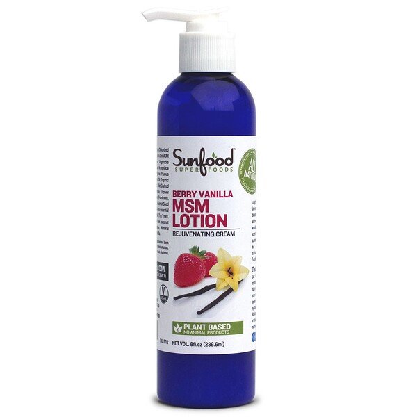 Sunfood, MSM Lotion, Rejuvenating Cream, Berry Vanilla, 8 fl oz (236.6 ml)