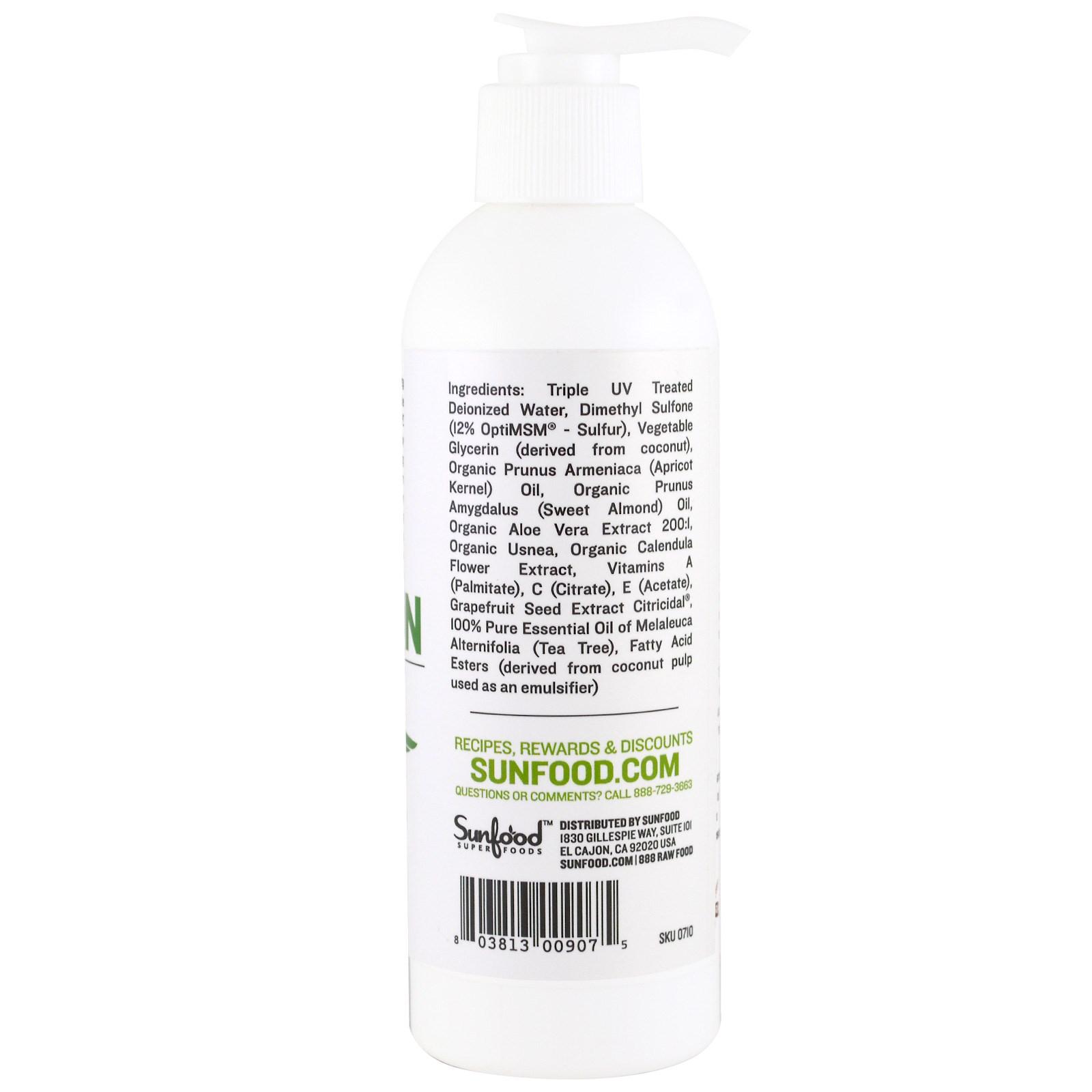 Sunfood, Medicinal MSM Lotion, Rejuvenating Cream, 8 fl oz (236 6 ml