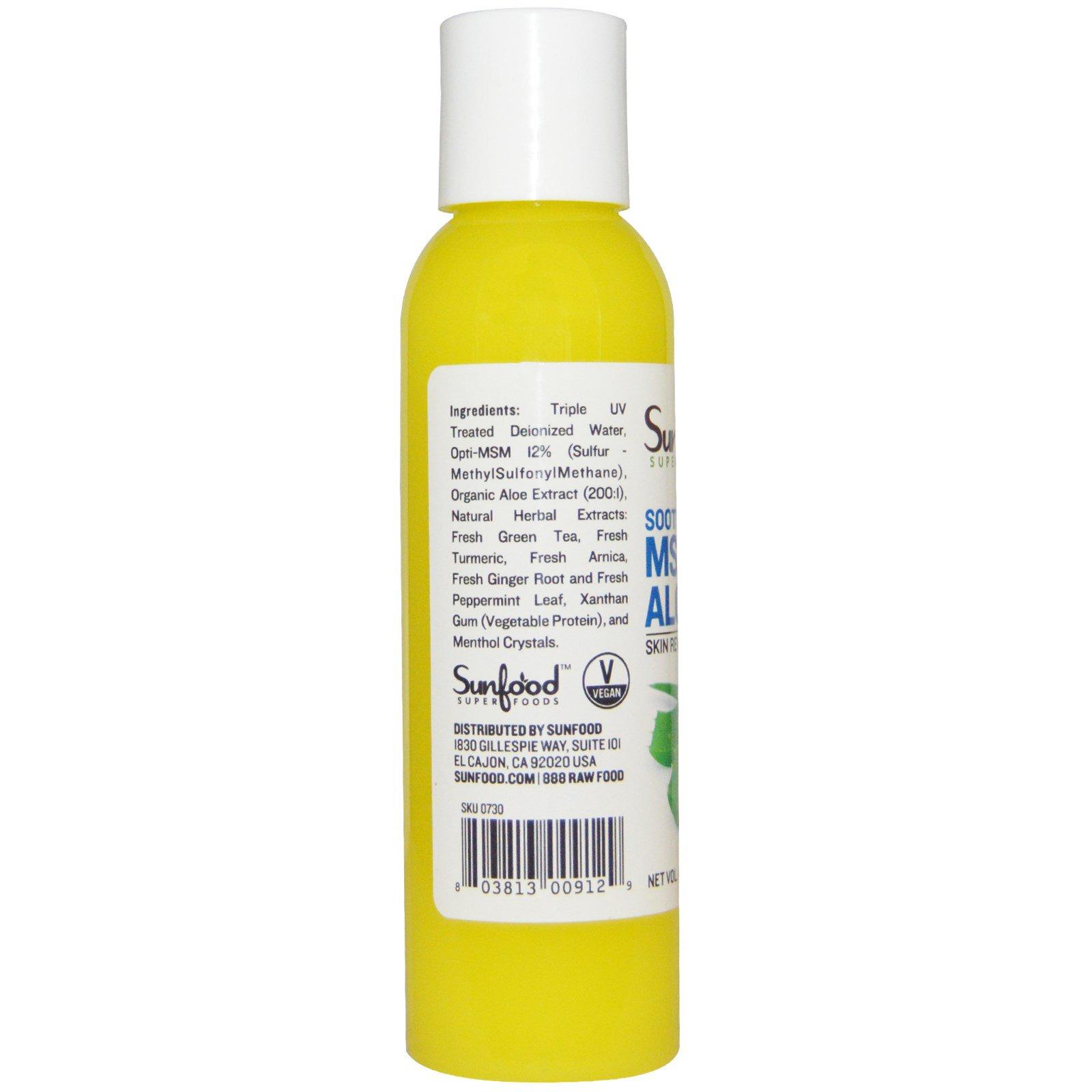 Sunfood, MSM Aloe Gel, Skin Revitalization, 4 fl oz (118 3