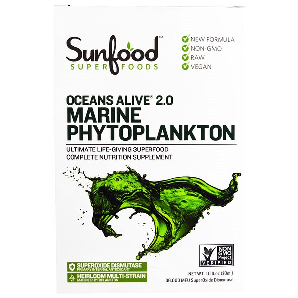 Sunfood, Ocean's Alive 2.0 fitoplancton marino, 1 fl oz (30 ml)