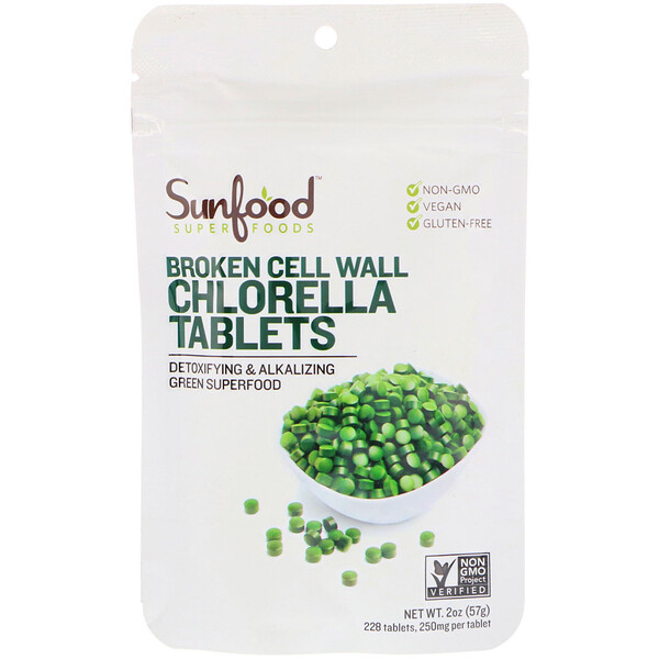 Sunfood, Broken Cell Wall Chlorella Tablets, 250 mg, 228 Tablets, 2 oz (57 g)