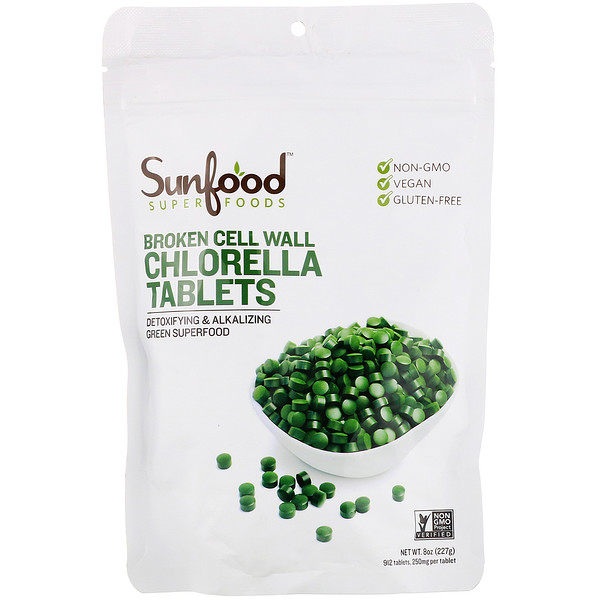 Sunfood, Broken Cell Wall Chlorella Tablets, 250 mg, 912 Tablets, 8 oz (227 g)