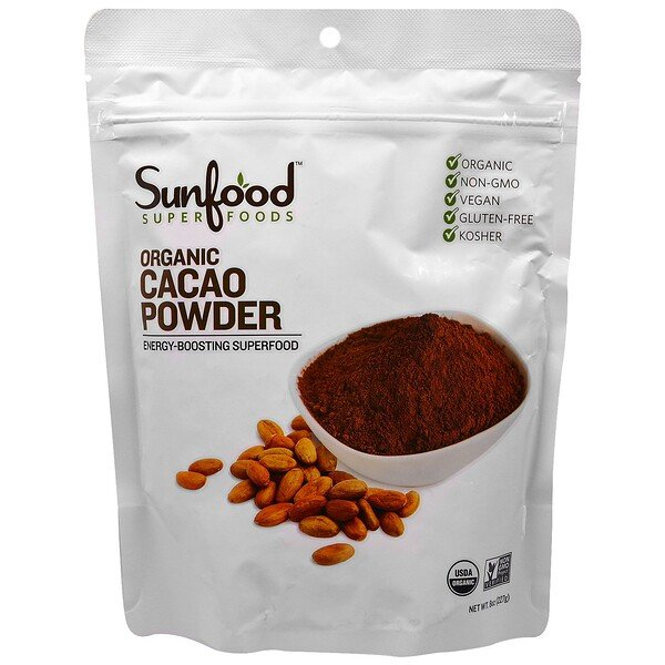 Sunfood, Organic Cacao Powder, 8 oz (227 g)