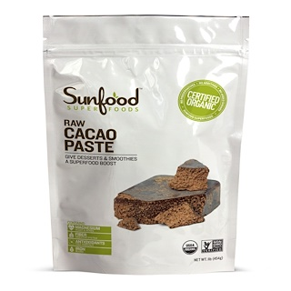 Sunfood, Raw Organic Cacao Paste, 1 lb (454 g)