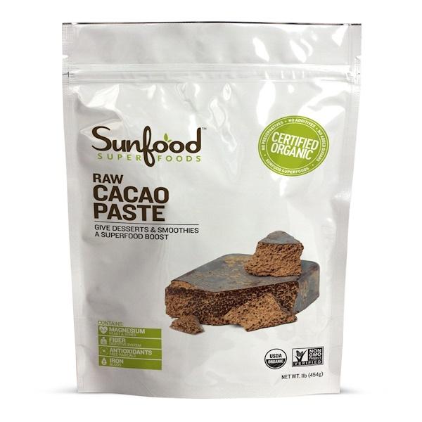 Sunfood, Сырая органическая какао-паста, 1 фунт (454 г)