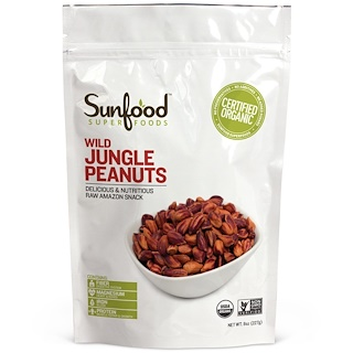 Sunfood, Wild Jungle Peanuts, 8 oz (227 g)