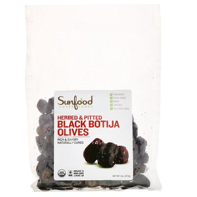 Сертифицированные натуральные оливки сорта Black Botija, без косточек, с зеленью, 8 унций (227 г)