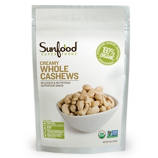 Sunfood, Creamy Whole Cashews, 8 oz (227 g)