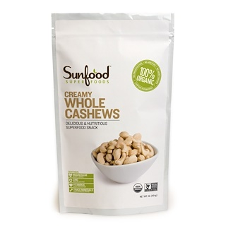 Sunfood, Creamy Whole Cashews, 1 lb (454 g)
