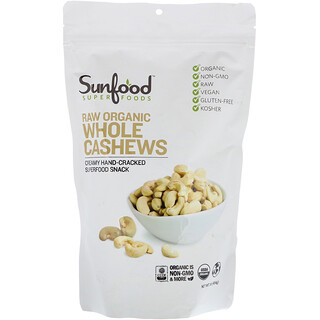 Sunfood, Raw Organic Whole Cashews, 1 lb (454 g)