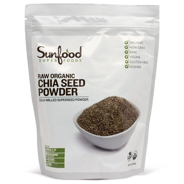Sunfood, Chia Seed Powder, Raw Organic, 1 lb (454 g) (Discontinued Item)