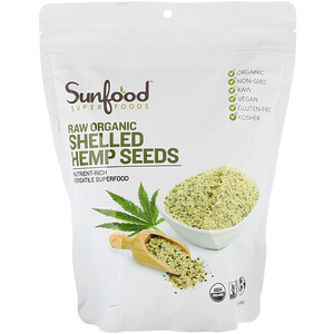 Sunfood, Raw Organic Shelled Hemp Seeds, 1 lb (454 g)