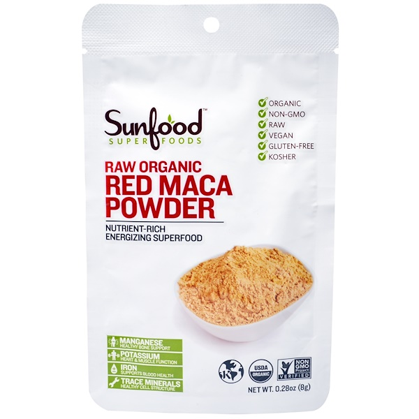 Sunfood, Raw Organic Red Maca Powder, 0.28 oz (8 g) (Discontinued Item)