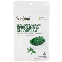 Sunfood, Spirulina & Chlorella, Super-Algentabletten, 250 mg, 228 Tabletten